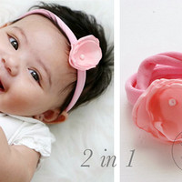 2 in 1 PINK Flower Baby Wrap Bracelet OR Pink flower headband Soft PINK Baby Jewellery with Pink Handmade Flower Toddler Wrap Bracelet