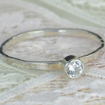 Sterling Silver CZ Diamond Engagement Ring
