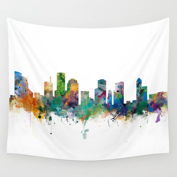 Houston Skyline Wall Tapestry by monnprint