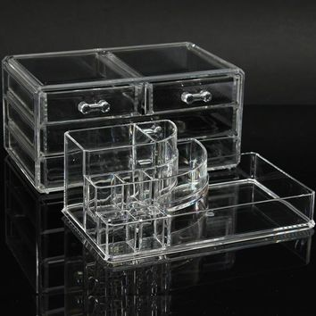 Clear Acrylic Cosmetic Display Storage Organizer Container with 4 Drawers