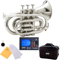 Mendini by Cecilio Nickel Plated B Flat Pocket Trumpet + Tuner w/ Metronome, Case, Mouthpiece & Accessories [MPT-N+92D] : K K Music Store: Musical Instruments - Violin, Viola, Cello, Saxophone, Trumpet, Trombone, Guitar, Flute, Piccolo, Clarinet & more