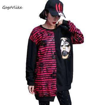 Women hoodies sweatshirts female jumper Striped 2018 Spring Irregular Color Block Pullovers and Tops Hip Hop Punk Rock LT522S50