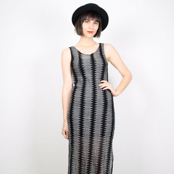 Vintage 90s Dress Black Gray Striped Maxi Dress Midi Dress Stretch Bandage Bodycon Dress 1990s Club Kid Zig Zag Chevron Sheer Mesh S Small M