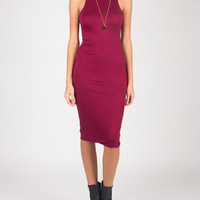 High Neck Body Con Dress - Burgundy - Large