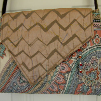 Small Cross Body Bag - Chevrons and Paisley - Pink, Silver, and Blue
