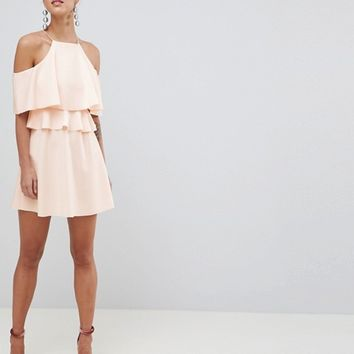 ASOS DESIGN High Neck Cold Shoulder Skater Mini Dress at asos.com