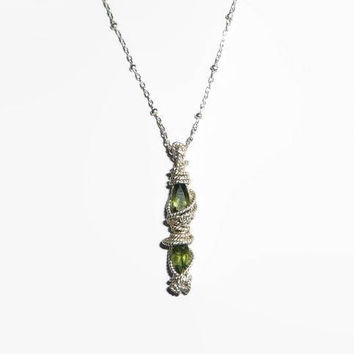 Moldavite Necklace Twisted Sterling Silver .925 Wire Wrapped