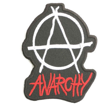 "ANARCHY Anarcho Punk Embroidered Iron On Patch 3.5""/9.4cm"