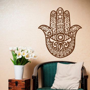 Indian Buddha Wall Decal Hamsa Hand Eye Wall Sticker Yoga Studio Meditation Decor Bohemian Home Wallpaper Vinyl Sticker AY1271