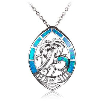 Sterling Silver Palm Tree Dolphin in Leaf Shape Opal Pendant(Chain Sold Separately)
