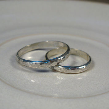 Silver wedding band, his and hers rings, hammered wedding rings