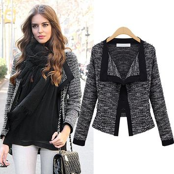 Women Blazer Casual Slim Thin Long Sleeve Notched Collar Fit Female Short Knitted Woolen Coat Womens Jacket Tops Outwear