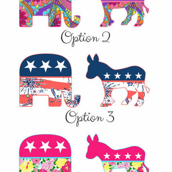 Republican or Democrat Lilly Inspired Stickers