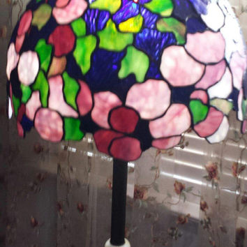 Stained Glass Hydrangea 5' Floor Lamp,  Tiffany Lighting, Large Lamp, Accent Lamp, Art Deco Style Floor Lamp