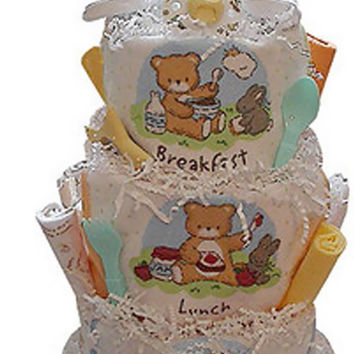 Newborn Baby Shower Gift Breakfast, Lunch & Dinner Diaper Cake