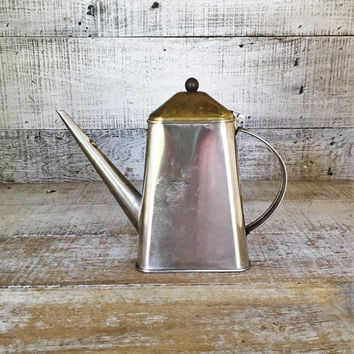 Watering Can Small Mid Century Watering Can Metal Water Pitcher Vintage Metal Pitcher Long Spout Metal Olive Dispenser Maple Syrup Holder