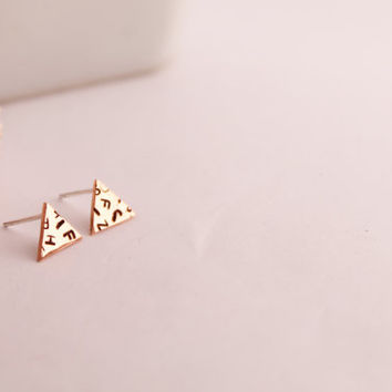 Triangle Copper Studs Hand Stamped Mixed Letters Geometric Studs