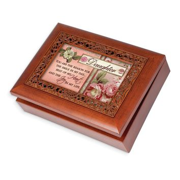 Ornate Woodgrain Daughter Music Box - Perfect Daughter Gift