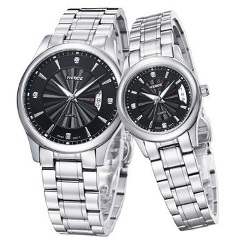 Popular WEIDE Solid Stainless Steel Couples Wristwatches Quartz Clock Movement Fashion Casual Dress Watches For Mens And Ladies