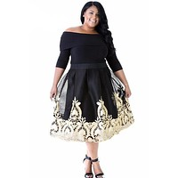 Lacy Embroidery Tulle Skirt Curvy Skater Dress