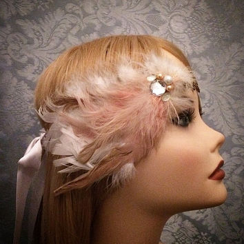 Unique 1920's inspired gold peach gatsby flapper headband headpiece hair piece head 20's Art Deco Style Sequin Rhinestone Pearl Satin