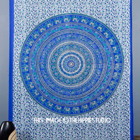Blue Mandala Tapestries, Hippie Tapestries, Indian Tapestry Wall Hanging, Boho Bed Spread, Bohemian Tapestry Throw, Dorm Wall Tapestries
