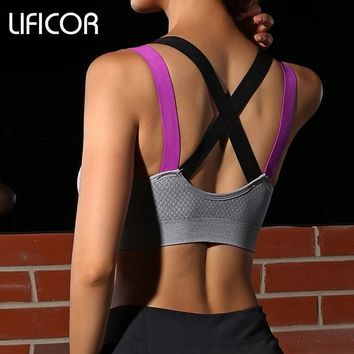 Womens Fitness Yoga Sports Bra Gym Running Padded Tank Top Athletic Vest Underwear Pro Shockproof Strappy Push Up Sport Bra Top