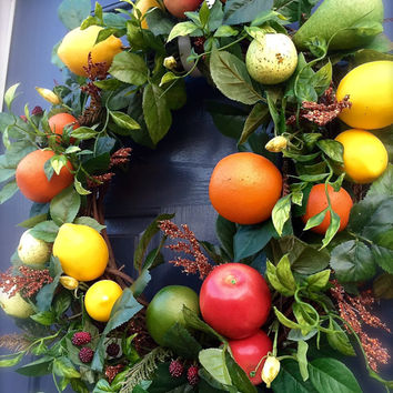 Fruit Wreath Orange Apples Pears Limes Lemons Decorations Kitchen Wreaths Fruit Colorful