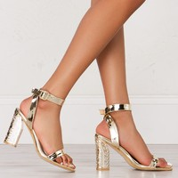 Chunky Heeled Sandals in Rose Gold and Gold