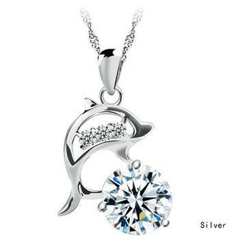 Fashion Jumping Dolphins Rhinestone Silver Plated Creative Pendant Necklace Without Chain