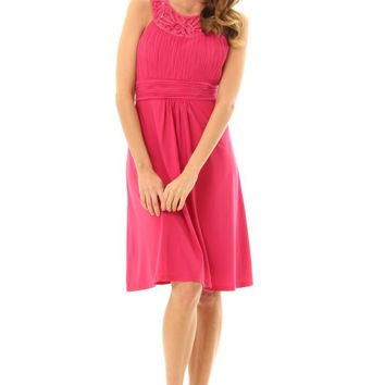 JD292Hotpink pretty dress with stunning jeweled neckline