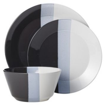 Room Essentials™ Tri-Band 12 Piece Dinnerware Set - Sleek Gray
