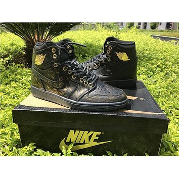 Air Jordan 1  WINGS  black gold Basketball Shoes 40-47