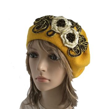 Felted Wool French Beret for Women - Yellow Felt Ladies Hat for Winter