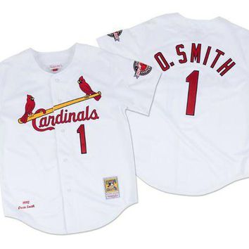 LMFNW6 Mitchell Ness Ozzie Smith 1992 Authentic Jersey St. Louis Cardinals In White