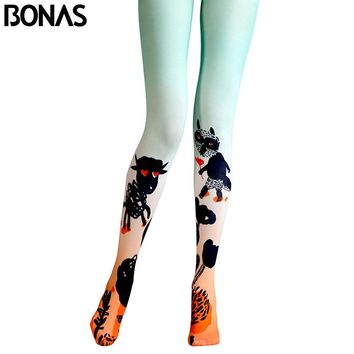 Pantyhose Funny Animal Collant High Elastic Cotton Tights Trendy Gradient Pantyhose Harajuku Tights
