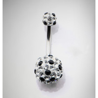 "14 Gauge 3/8"" Clear & Black Gems Banana"