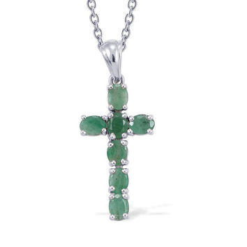 Kagem Zambian Emerald Cross Pendant in Platinum Overlay Sterling Silver Nickel Free With Stainless Steel Chain - 20 inch