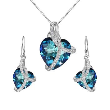"925 Sterling Silver CZ ""Courageous Heart"" Inspired Pendant Necklace Hook Earrings Set Made with Swarovski Crystals"