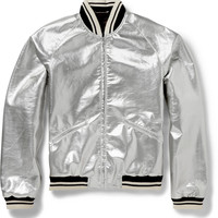 Saint Laurent - Metallic Coated Wool-Blend Bomber Jacket | MR PORTER