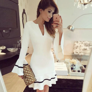Fashion Women Dresses Package Hip Fishtail Dress Sexy V-neck Butterfly Long-sleeved Short Party Dress vestidos robe femme S-XXL