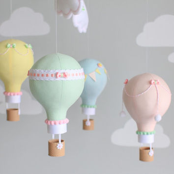 Pastel Baby Mobile, Hot Air Balloon Mobile, Custom Mobile, Nursery Decor, Personalized Baby Mobile, Made to Order, i12