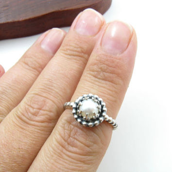 Sterling Silver Crown Pearl Ring White Pearl Ring Handmade Metal Work Jewelry Size 6 Silver Pearl Ring BooBeads Handmade Metal Jewelry