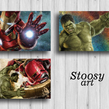 marvel avengers poster set of 3 hulk art iron man painting superhero decor