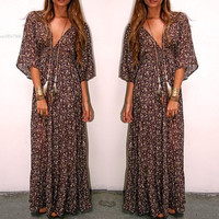 Plus Size 2016 Summer Style Vestidos Women Chiffon Beach Dress Casual Print Maxi Dress Vintage Long V Neck Bohemian Dresses 41