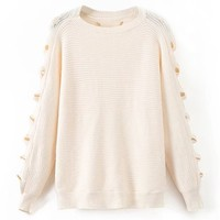 Beige Cut Out Long Sleeve Knit Sweater