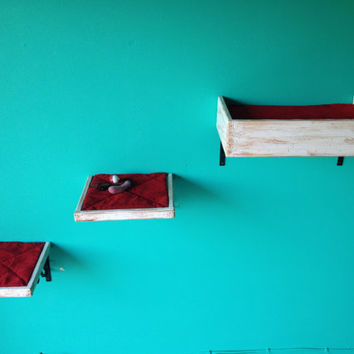 Set of Three Two Cat Shelves One Cat Bed Cat by PorteSueloGoods