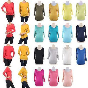 Solid Plain Round Neck 3/4 Dolman Sleeve Tunic Pullover Top Shirt Side Shirring