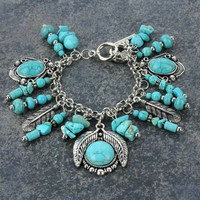 Turquoise Feather Charm Bracelet