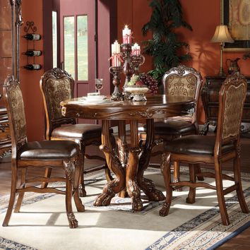 """Acme 12160-62 5 pc dresden cherry oak finish wood 48"""" round counter height pedestal dining table set"""